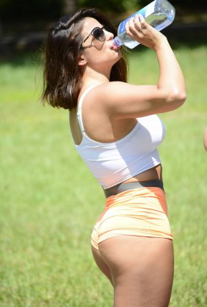Donna Bella in Tiny Shorts and Sports Bra - Workout at Park in Miami
