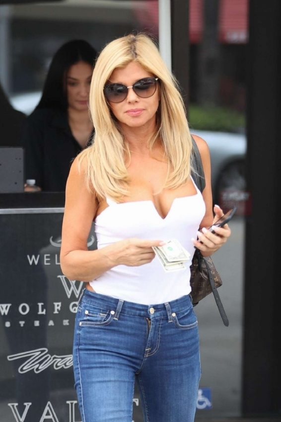 Donna D'Errico in Jeans and White Top at Wally's in Beverly Hills