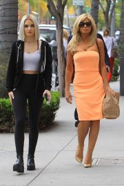 Donna D'Errico in Orange Strapless Dress - Out in Beverly Hills