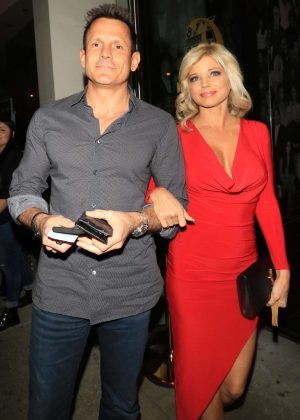 Donna D'Errico in Red Dress - Celebrates her 50th Birthday in West Hollywood