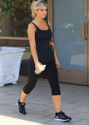 Donna D'Errico in Tights Leaves a Gym in Los Angeles
