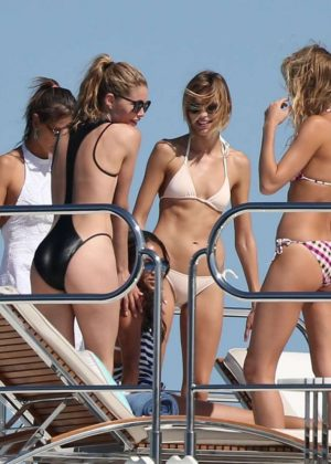 Doutzen Kroes, Elsa Hosk, Joan Smalls and Alessandra Ambrosio at a Yach in St Tropez