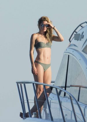 Doutzen Kroes in Bikini on a yacht in Formentera