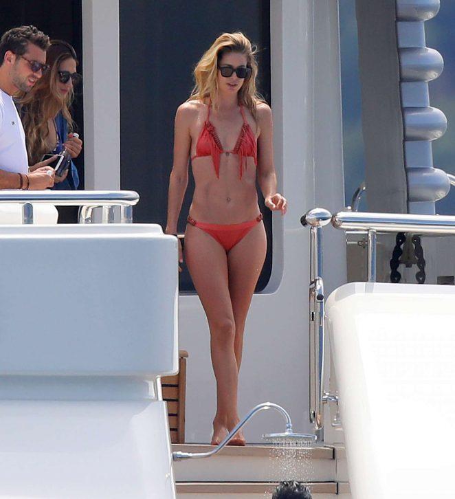Doutzen Kroes in Bikini on a yacht in France