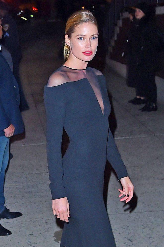 Doutzen Kroes in Long Black Dress out in NYC