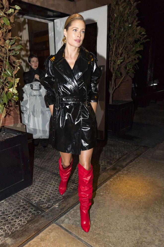 Doutzen Kroes in red boots out in NYC