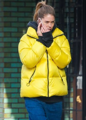 Doutzen Kroes in Yellow Jacket - Out in New York City