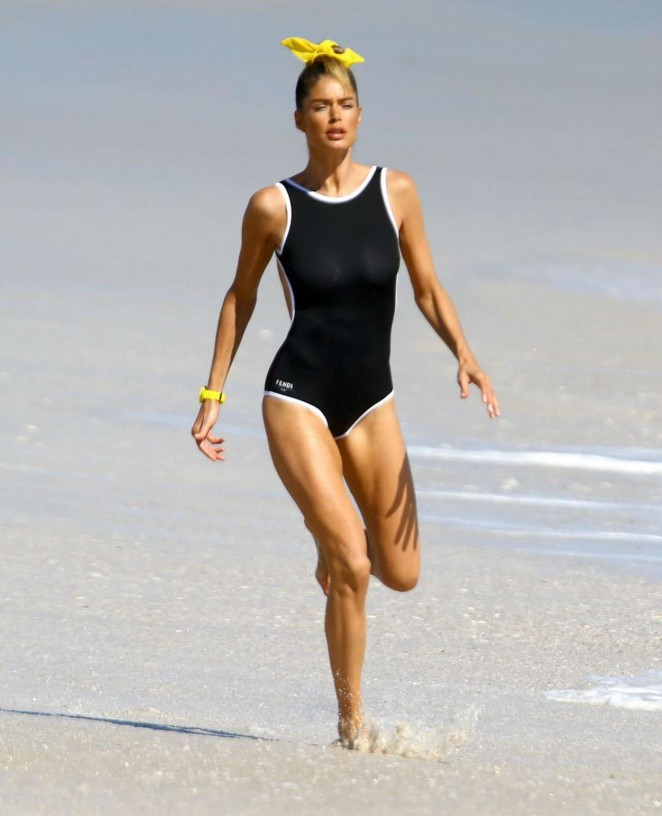 Doutzen Kroes in Black Swimsuit on Miami