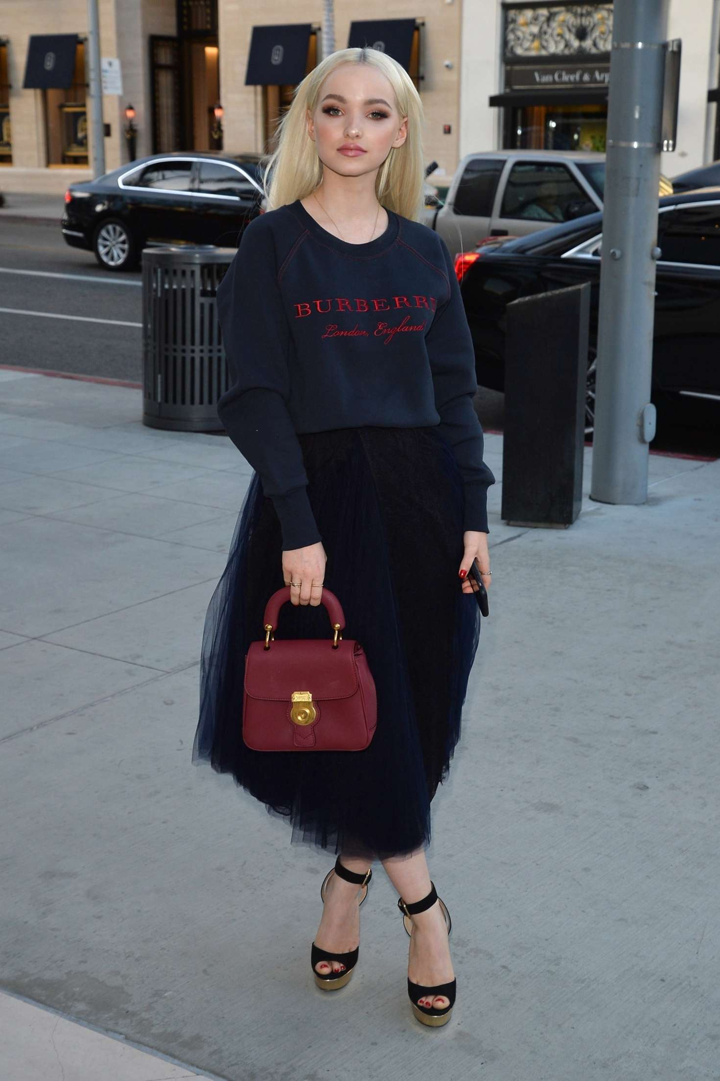 Dove Cameron 2018 : Dove Cameron: Arrives at a party at the Rodeo Drive Burberry store -02