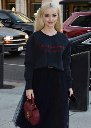 Dove Cameron - Arrives at a party at the Rodeo Drive Burberry store in Beverly Hills