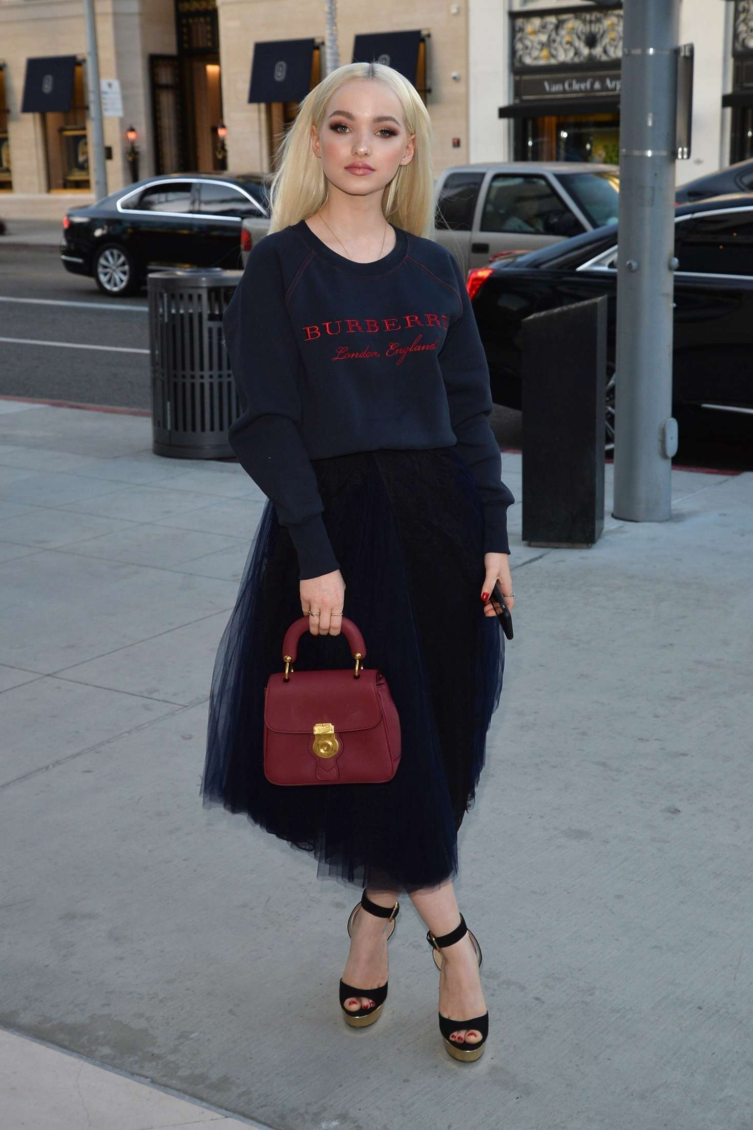 Dove Cameron 2018 : Dove Cameron: Arrives at a party at the Rodeo Drive Burberry store -08