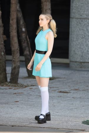 Dove Cameron - On the set as Bubbles 'Powerpuff' TV series in Atlanta - Georgia