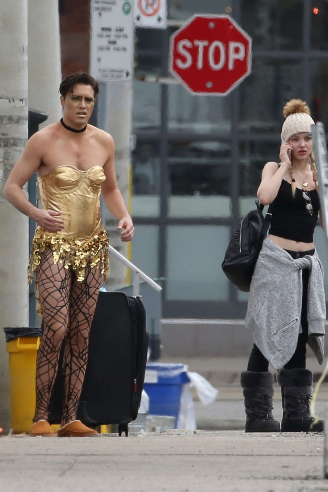 Dove Cameron on the Set of 'The Rocky Horror Picture Show' in Toronto