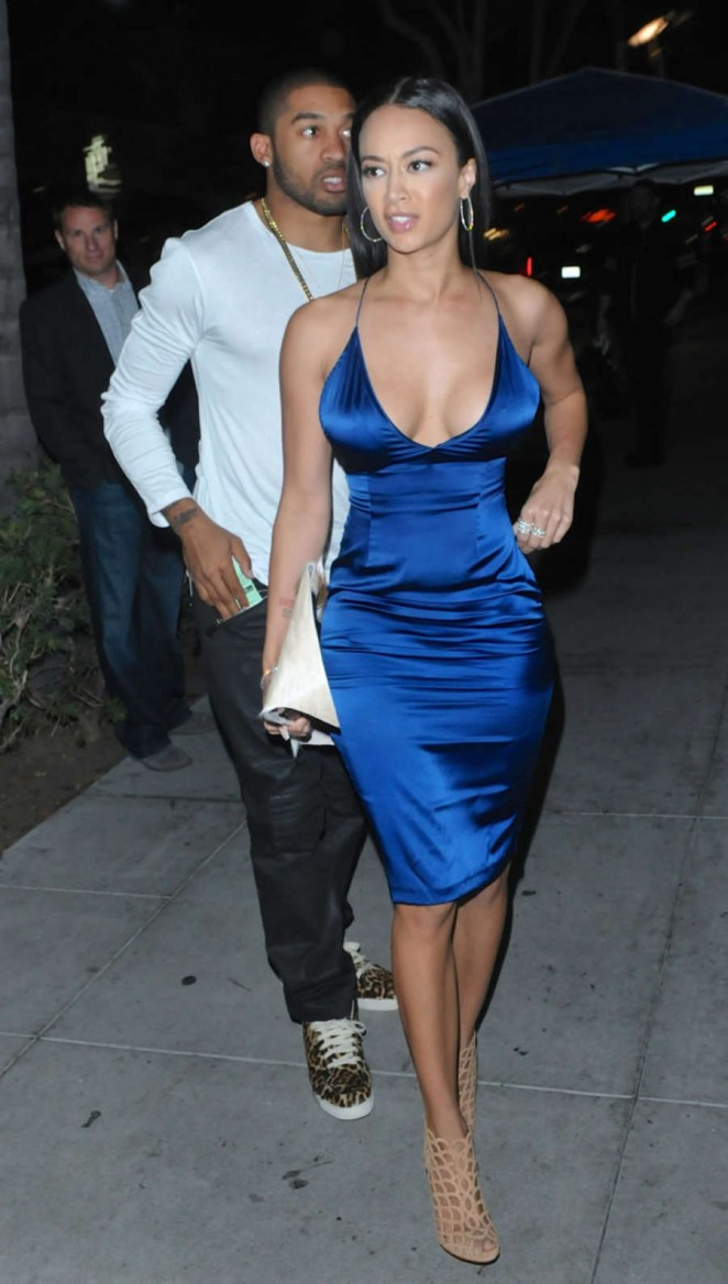 Draya Michele in Blue Dress at Mastro's Steakhouse in West Hollywood