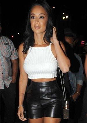 Draya Michele in Leather Shorts at Supperclub in LA