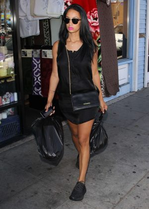Draya Michele in Black Mini Dress in Los Angeles