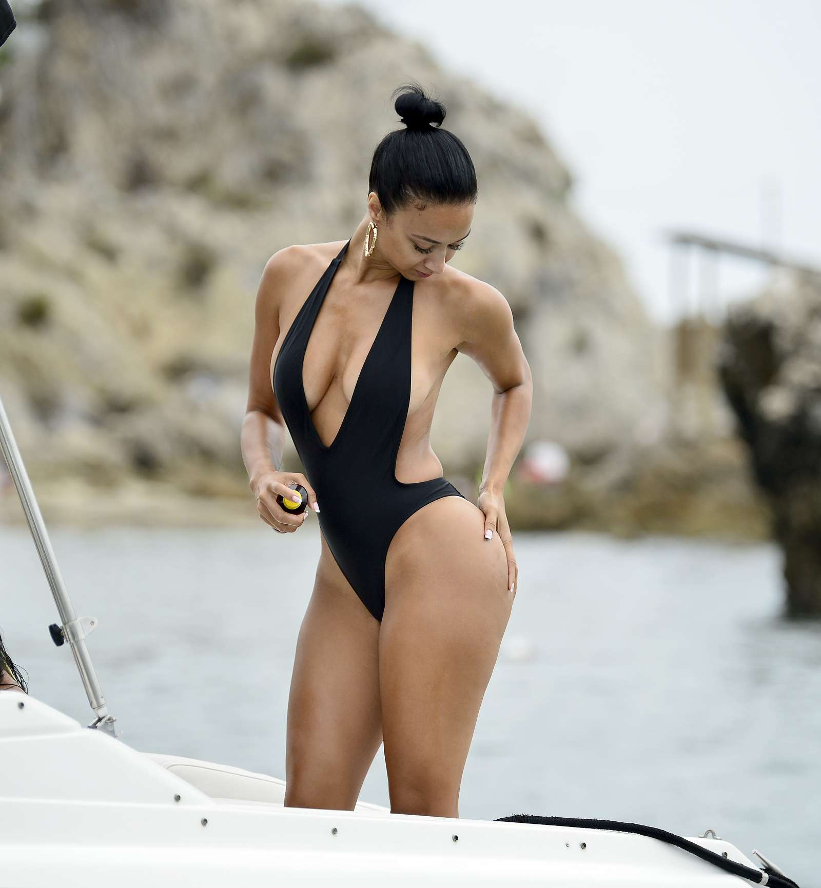 Draya Michele in Black Swimsuiti in Newport Beach