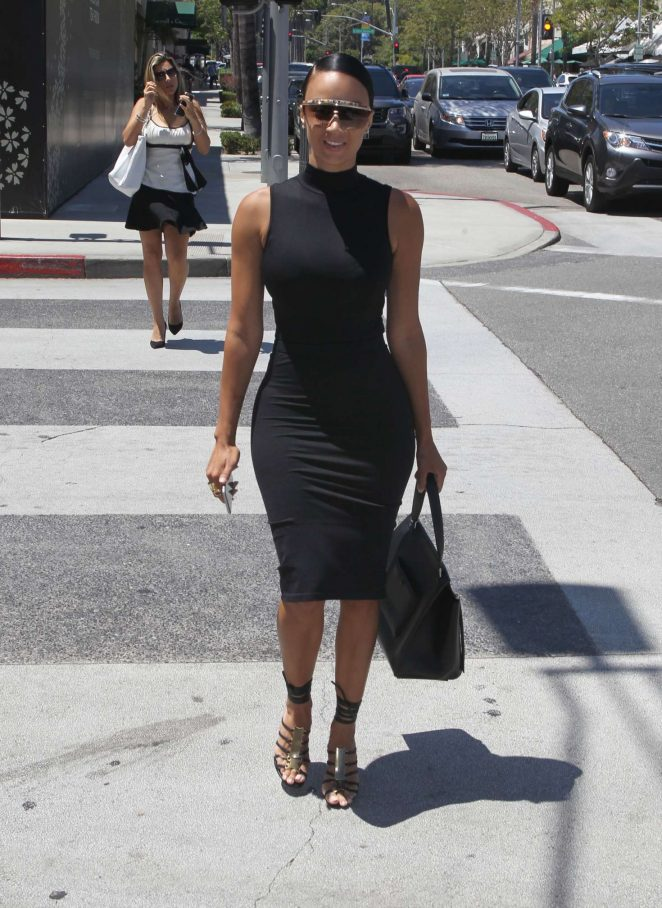 Draya Michele in Tight Dress Shopping in Beverly Hills