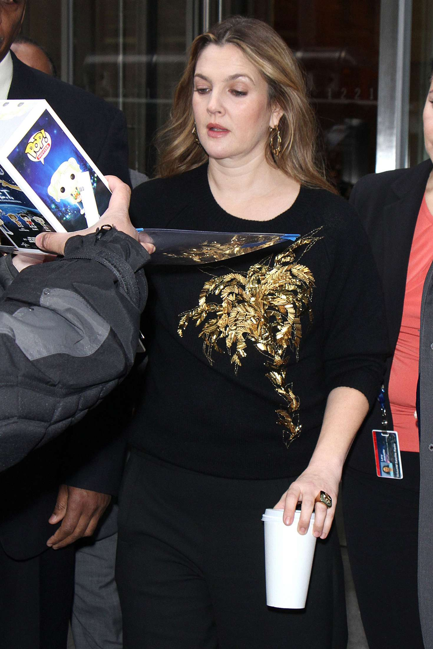 Drew Barrymore greets fans while out promoting 'Santa Clarita Diet' in New York