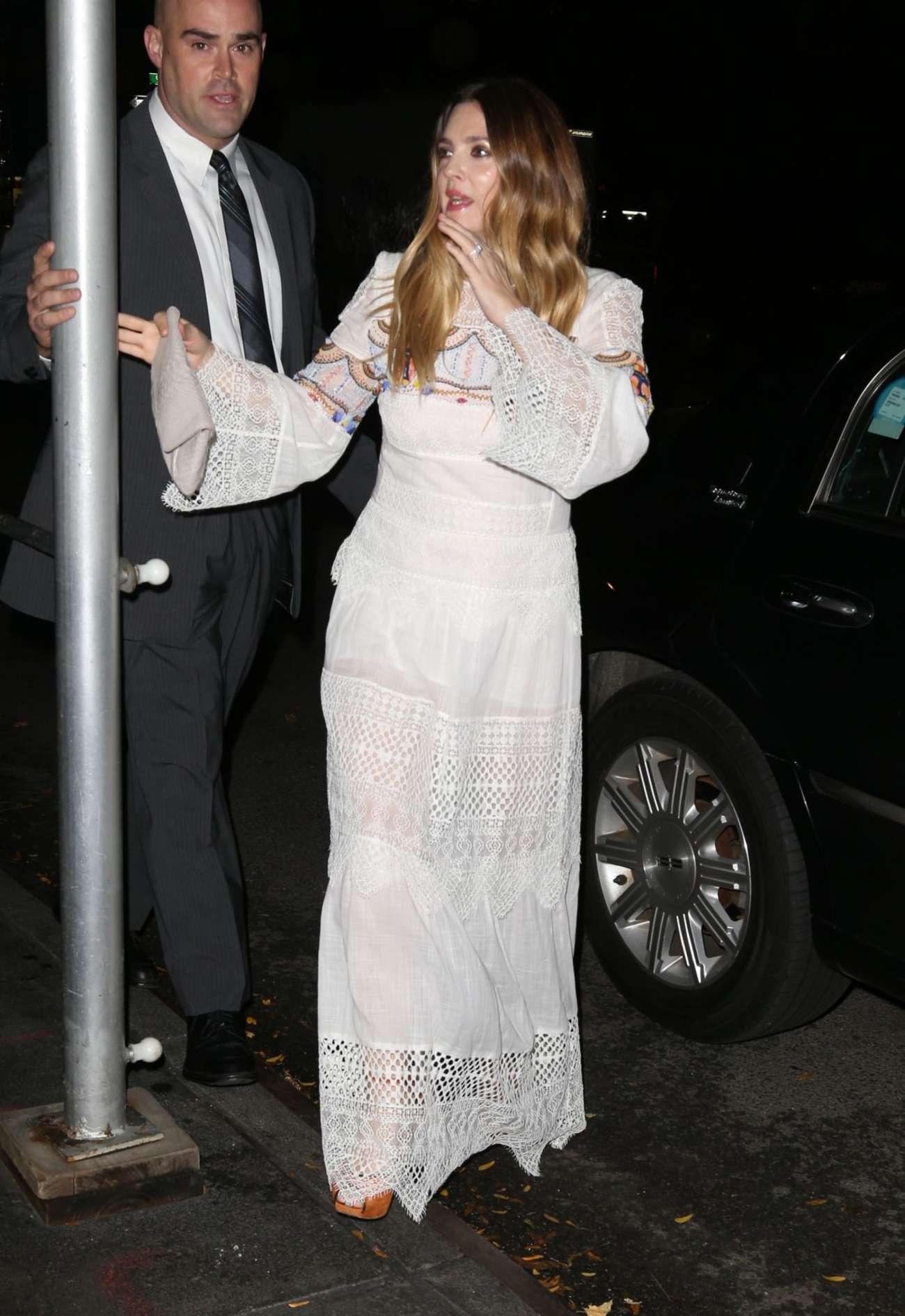 Drew Barrymore 2015 : Drew Barrymore in White Long Dress -01