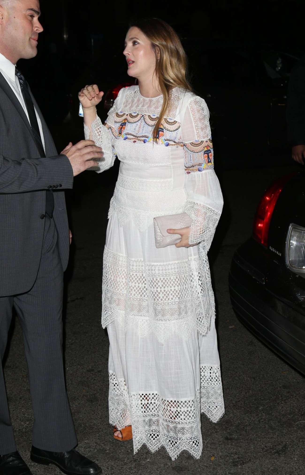 Drew Barrymore 2015 : Drew Barrymore in White Long Dress -02