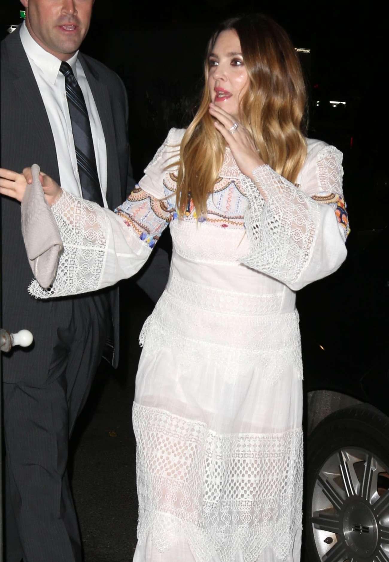 Drew Barrymore 2015 : Drew Barrymore in White Long Dress -03