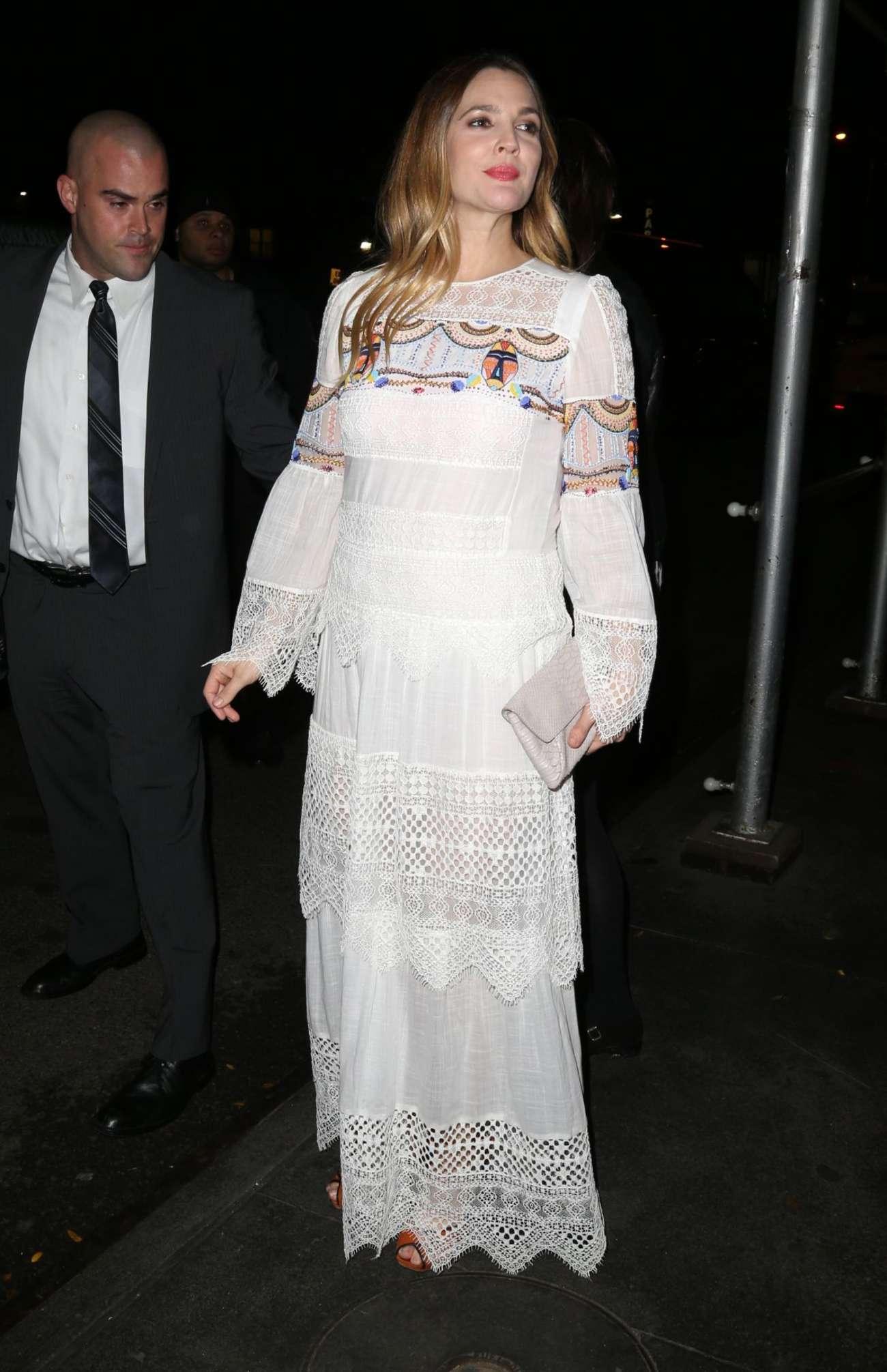 Drew Barrymore 2015 : Drew Barrymore in White Long Dress -05