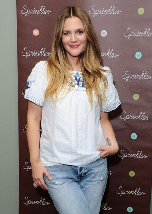 Drew Barrymore promoting her new cupcake in Beverly Hills
