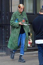 Dua Lipa in Green Coat - Out in New York
