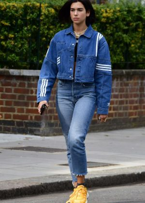 Dua Lipa in Jeans - Out in London