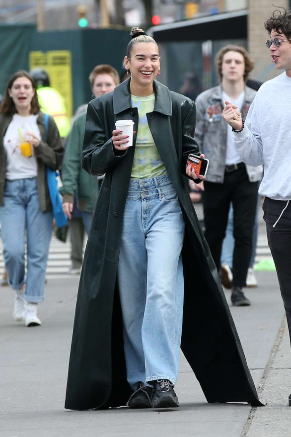 Dua Lipa in Long Leather Coat - Out and about in New York City