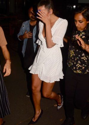 Dua Lipa in White Mini Dress Leaving dinner in Sydney
