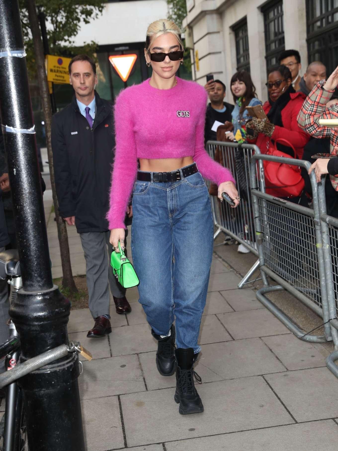 Dua Lipa - Leaving BBC's Zoe Ball Show in London