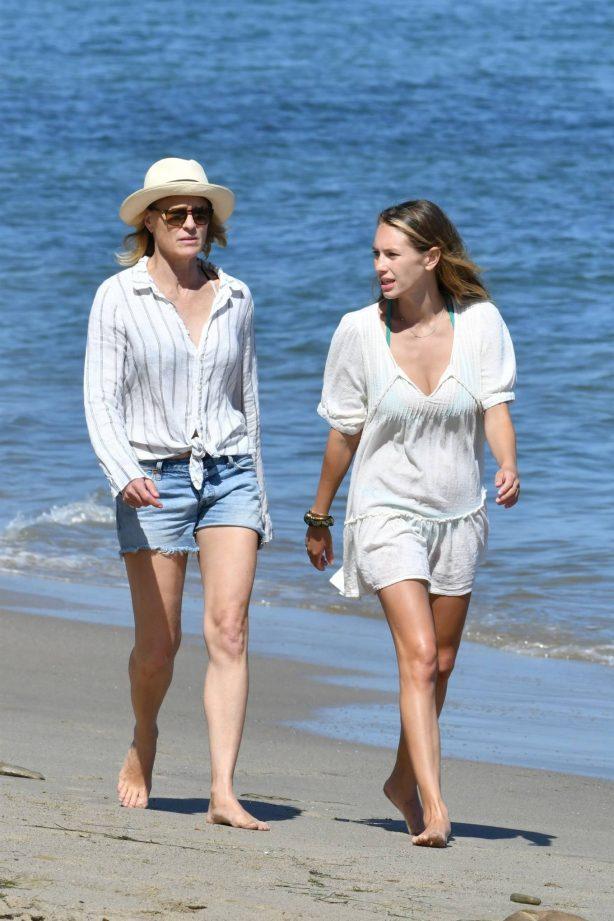 Dylan Penn and Robin Wright - On a beach in Malibu