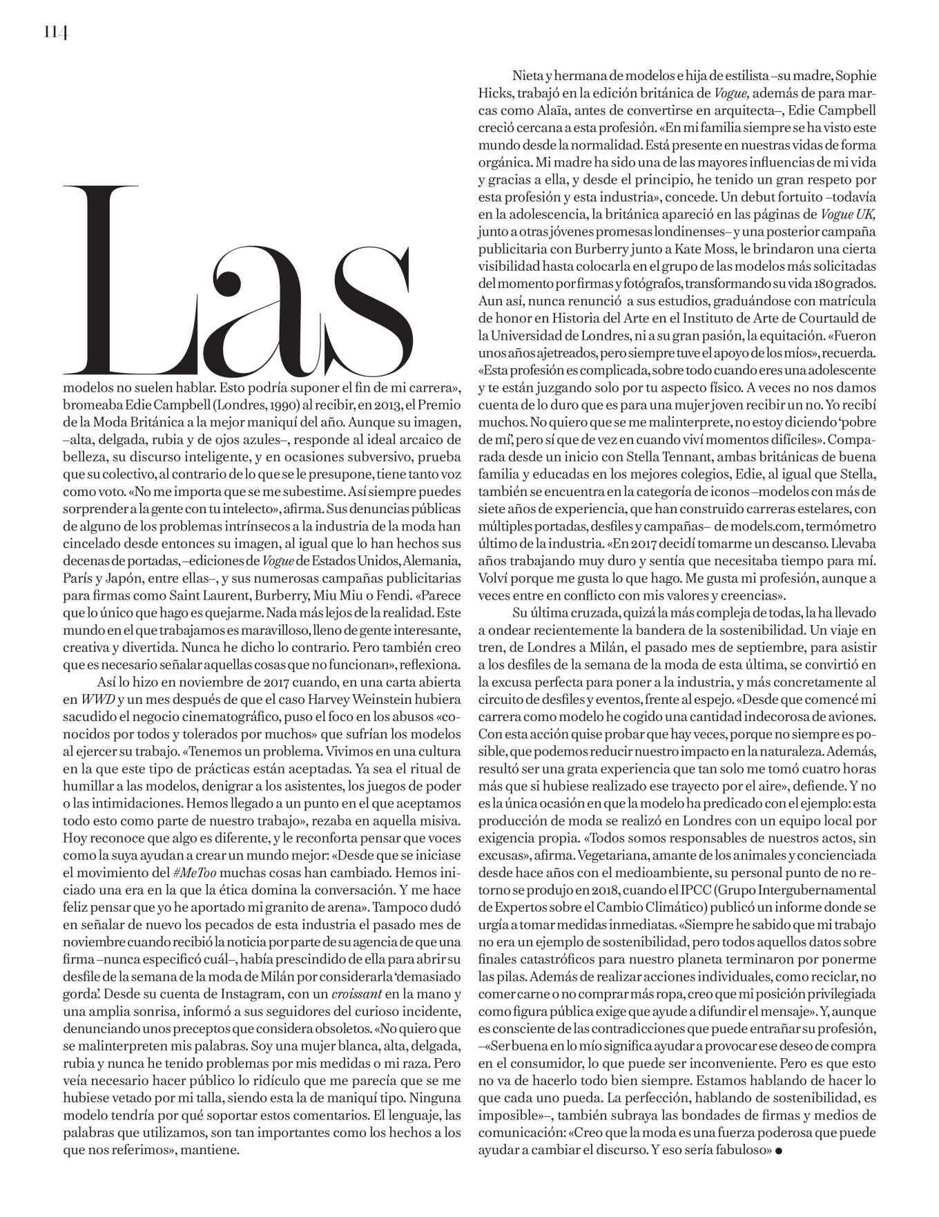 Edie Campbell 2019 : Edie Campbell – Vogue Espana 2020-05