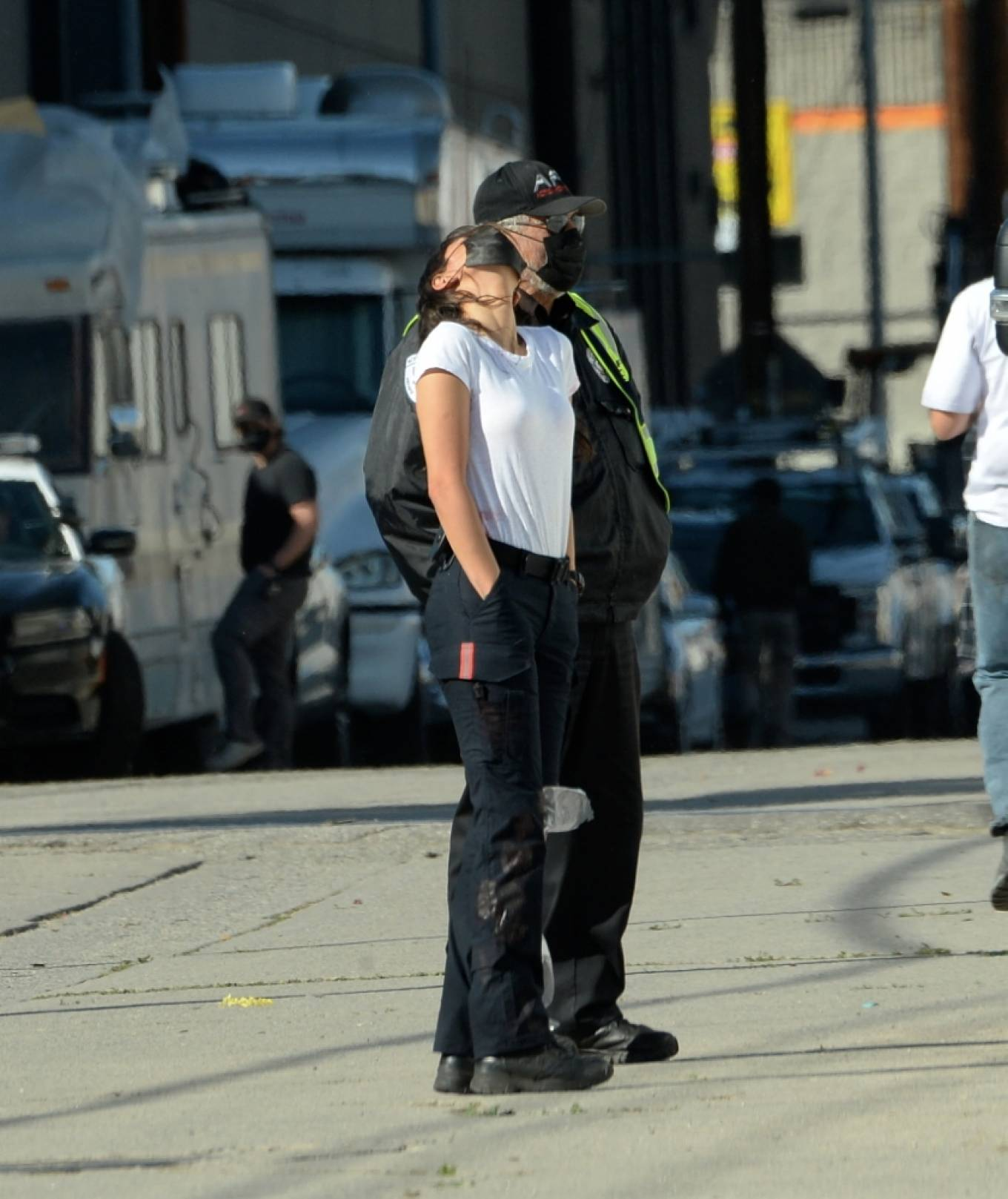 Eiza Gonzalez - 'Ambulance' set filming in Los Angeles