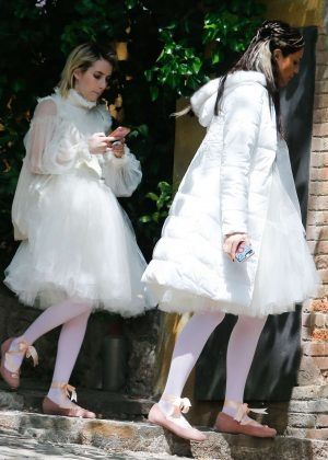 Eiza Gonzalez and Emma Roberts - On the set of 'Paradise Hills' in Barcelona