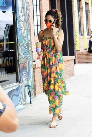 Eiza Gonzalez - In a colorful dress during a morning coffee run in Los Angeles