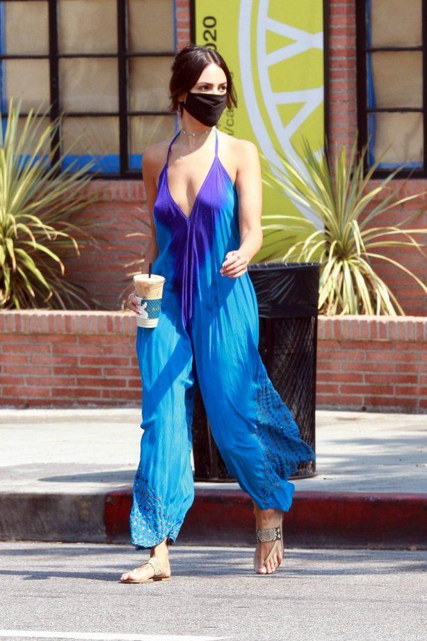 Eiza Gonzalez - In a tie-dye blue jumpsuit out in Los Angeles