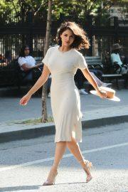 Eiza Gonzalez in Beige Dress an Amateur Shoot in New York