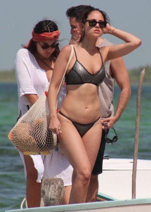 Eiza Gonzalez in Bikini with Josh Duhamel on vacation in Chunyaxche