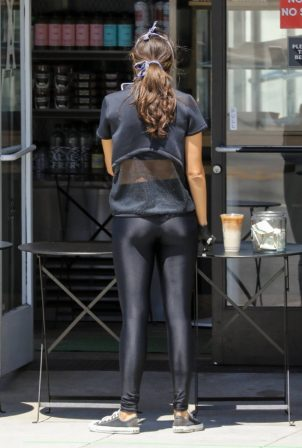 Eiza Gonzalez in Black Spandex - Getting iced coffee in Beverly Hills