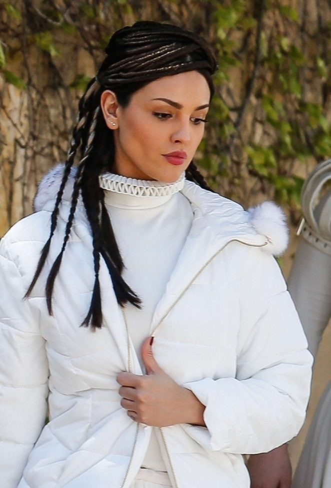 Eiza Gonzalez in costume on the set of 'Paradise Hills' in Barcelona