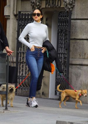 Eiza Gonzalez in Jeans with her dogs in Barcelona