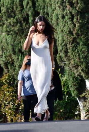 Eiza Gonzalez in Long White Dress - Visiting a friend in Los Feliz