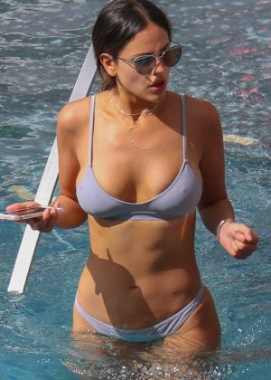 Eiza Gonzalez in Silver Bikini at a pool in Honolulu
