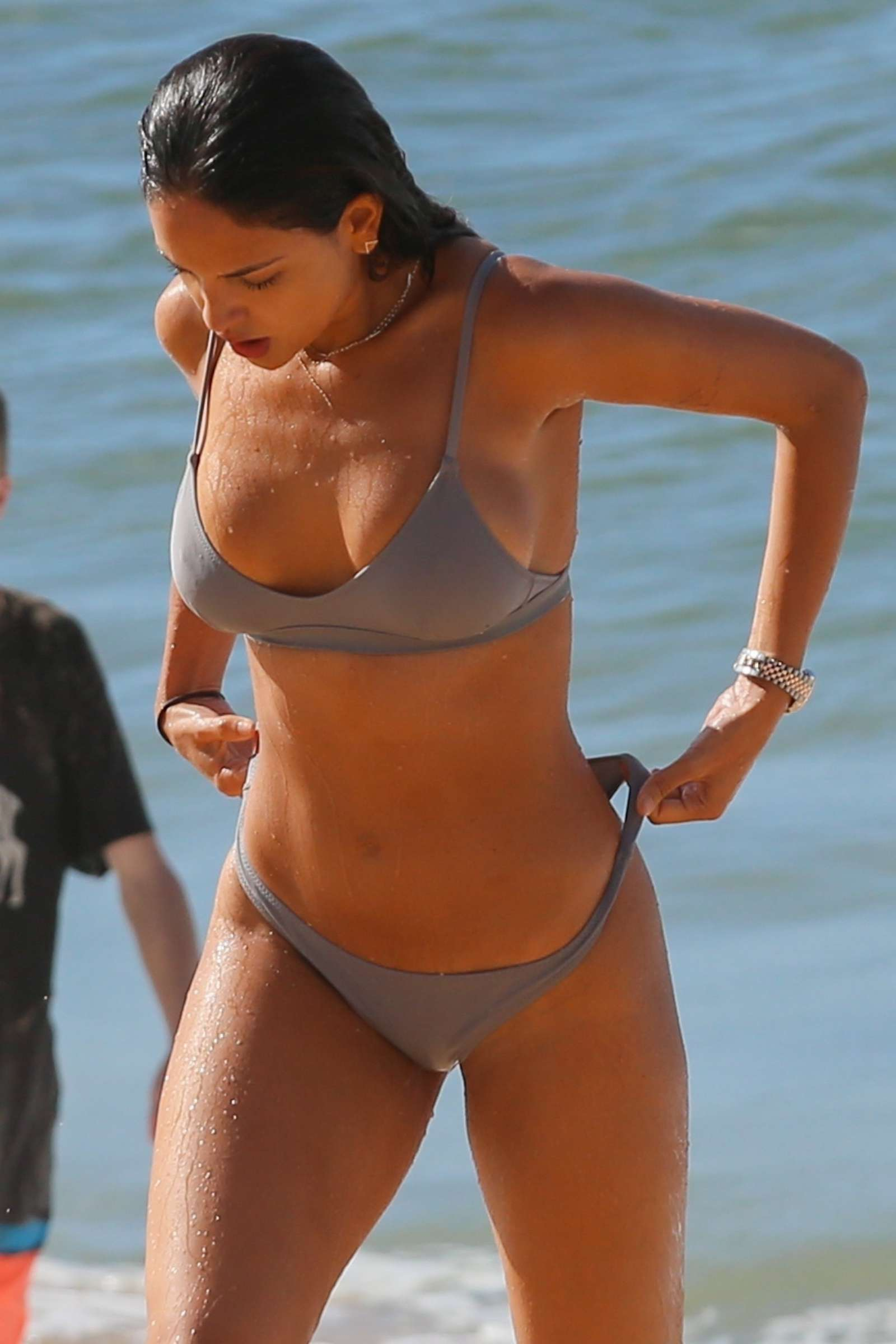 Eiza Gonzalez in Silver Bikini on the beach in Hawaii