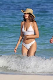 Eiza Gonzalez - In white bikini on the beach in Tulum