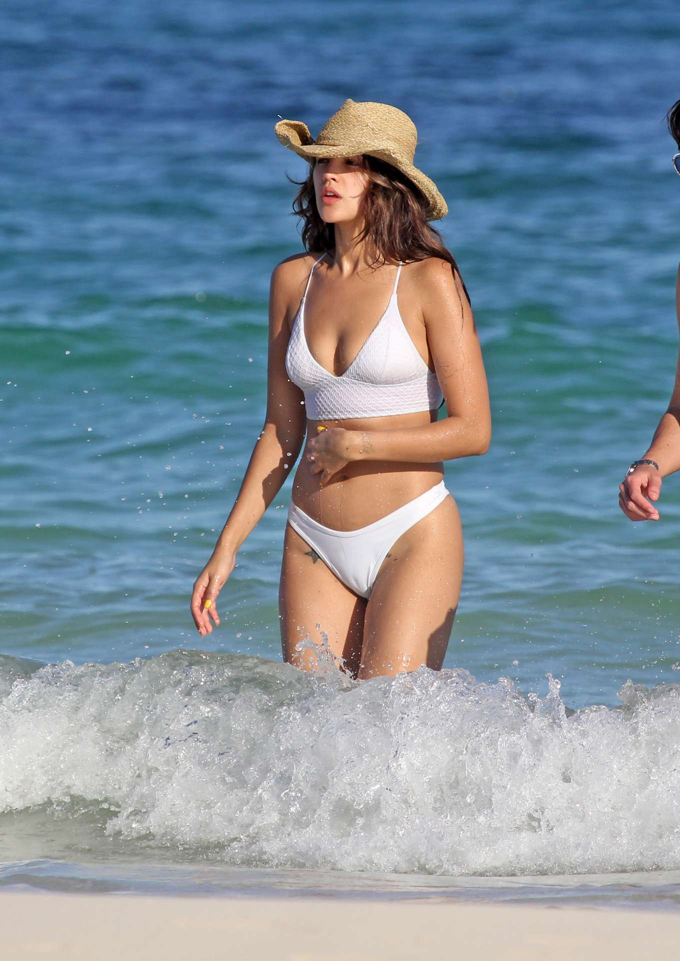 Eiza Gonzalez - In white bikini on the beach in Tulum