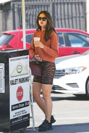 Eiza Gonzalez looks trendy in tiger stripes and sporty bike shorts at Sweet Butter Kitchen